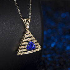 18ct Yellow Gold Natural Untreated Tanzanite and Diamonds Pendant GBP 12500