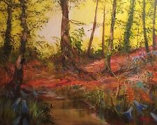 """NEW ORIGINAL LEON GOODMAN OIL """"The Bluebell Brook"""" Fauvist Country Life PAINTING"""