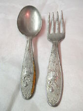 Antique Standard Silver Plated Baby Fork & Spoon Little Miss Muffet