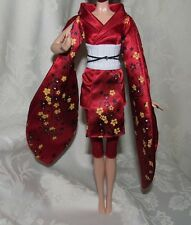 BARBIE MODEL MUSE 2010 JAPAN BRIGHT RED KIMONO YELLOW FLOWERS PANT FASHION LOT