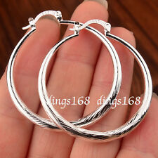 Women's Gracious 925 Sterling Silver 45mm Large Round Circle Hoop Earrings H19