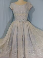 1950s Vintage PARTY DRESS~French Blue Lace Overlay A-LINE ORGANZA GOWN  34B 23W