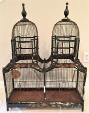VINTAGE ANTIQUE VICTORIAN STYLE STEEPLE TOP WIRE & WOOD BIRD CAGE SHABBY CHIC NR