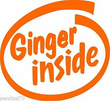 """GINGER INSIDE"" Orange Funny Car/Window/Van JDM VW VAG EURO Vinyl Decal Sticker"