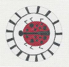 "Zecca Ladybug w/ Border handpainted Needlepoint Canvas Insert or Ornament 3"" Rd."