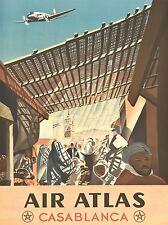 Impresión arte cartel Travel Aire Atlas Casablanca Marruecos nofl1079