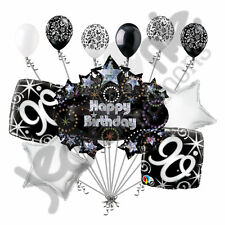 11 pc 90th Happy Birthday Balloon Decoration Party Elegant Adult Black White