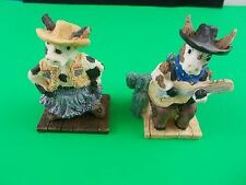 "Cow Figurines country cows guitar rodeo 31/2"" farm yard animals"