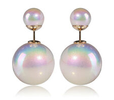 Fashion Jewelry Shining-White Double Sided Faux Pearl MISE en Tribal Earrings