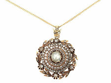 2.95ct Diamond and 14ct Yellow Gold Pendant - Antique Victorian