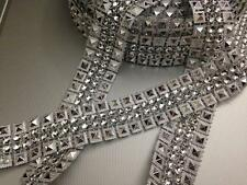 SILVER STUD / DIAMANTE EFFECT RIBBON TRIM, WEDDING,CRAFT, 1 Yard/2.5 cm Approx
