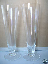 """Set Of 2 Bar Ware Drinking Glass 9"""" Tall  Crystal Clear Low Footed"""