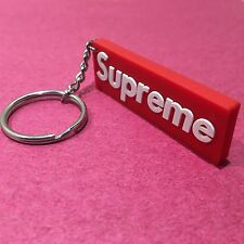 Supreme Red Box Logo 3D Rubber Keychain Accessory Holder Double Sided Keyring