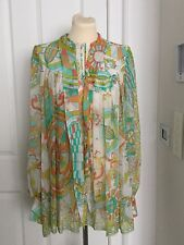 PUCCI PRINT LONG SLEEVE 100% SILK TOP/BLOUSE/SHIRT - SIZE 12 - WORN ONCE