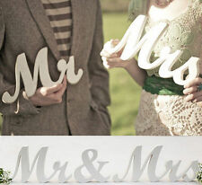 Mr and Mrs White Letters Sign Wooden Standing Top Table Wedding Decor New