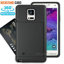 New Credit Card slot Hard Rubber Armor Case with stand holder for GALAXY NOTE 4