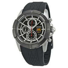 Seiko FC Barcelona Chronograph Black Dial Black Rubber Mens Watch SNDE81
