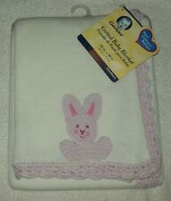 Gerber Hand Knitted Baby Blanket with Crocheted Trim & Bunny Applique NWT