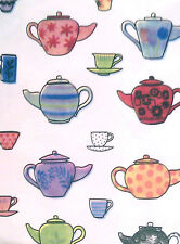 "TEA POTS CUPS MUGS GREEN PURPLE WHITE VINYL WIPE CLEAN (69"") ROUND TABLECLOTH"