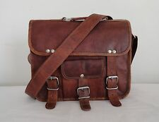 "9x11"" Handmade Real Brown Leather Briefcase Messenger Crossbody Bag Ecofriendly"