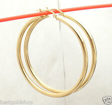 "3mm X 50mm 2"" Large Plain All Polished Shiny Hoop Earrings REAL 14K Yellow Gold"