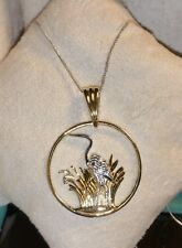 Chuck Clemency NYCII 18k yellow gold/sterling silver Egret bird Pendant Necklace