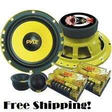 "6.5"" Car Speaker System 2 Way 400 Watt Pyle Mid Bass Tweeters Audio Custom Kit"