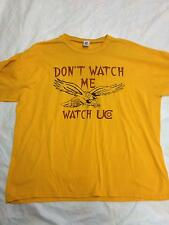 "Men's Vintage RUSELL Yellow Graphic T Shirt Sz XL ""Don't Watch Me Watch UC"""