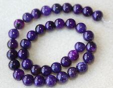 Agate (Gemstone) Dragon Vein 10mm Purple Round Beads - Full Strand