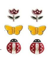 E227 Click Six Flower Ladybug Beatles Butterfly 3 Pairs Earrings Set US