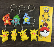 24 pcs Pikachu Pokemon mix 3D PVC Rubber Toys gift Key chain Keyring Fashion G01