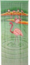 Bamboo Bead Curtain Room Divider Tropical Flamingoes Wall Hanging Doorway Panel
