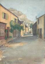 ROCAMADOUR STREET FRANCE Watercolour Painting ROSE WHAITE c1920