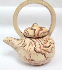 """Marble tan sand clay pot miniature tea kettle handcrafted art pottery 2.5"""""""