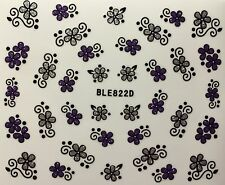 Nail Art 3D Decal Stickers Purple & Silver Glittery Flowers BLE822D