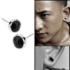 1Pair Fashion Mens Round Black Agate Silver Ear Studs Earrings Unisex Jewelry