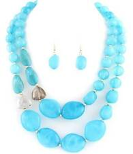 TWO LAYERS TURQUOISE BLUE LUCITE BEAD MARBLE LOOK NECKLACE EARRING