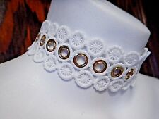 WHITE GEOMETRIC LACE CHOKER w/ GOLD EYELETS grommets necklace wheel steampunk S1