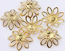 Wholesale 100Pcs Gold Filigree Flower Cone End Bead Caps Charms 20mm