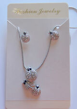 Necklace & Earring set-silver toned-Ladybugs-clear sparkly stones -black eyes