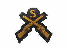 Sniper Crossed Rifles Badge/Patch - Gold Wire on Black - British Army - G2130