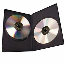 2 x Double DVD Case Cases 7mm Spine Slim Black Clear Front Cover Sleeve NEW UK