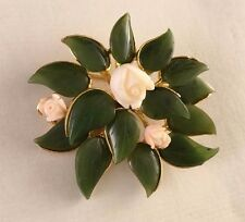 Vintage Swoboda Nephrite Jade Pin Brooch with White Roses  Signed