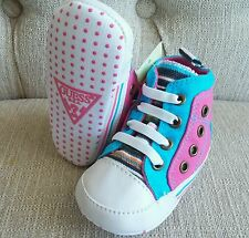 NEW Baby Girl 0-6 mo Size 1 GUESS Pink Blue White Punk  High-top Crib Sneakers