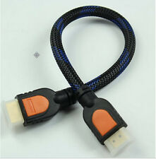 One Feet HDMI 1.4 braided gold 30cm short 1 Foot HDMI Cable for HD TV 3D 1080p