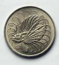 1967 SINGAPORE Coin - 50 Cents - AU+ cartwheel lustre - lion fish (ocean animal)