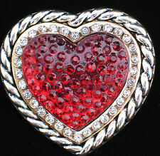 SILVER GOLD RESIN VALENTINES DAY I LOVE YOU FRIENDSHIP HEART PIN BROOCH JEWELRY