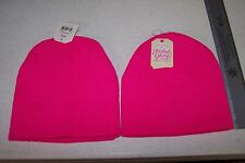 "(2) Solid Fuchsia Knit Caps One Size 7"" Girl's/Boy's Skull Caps Keep Head Warm!"