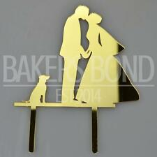 Bride Groom & Dog Gold Acrylic Wedding Day Cake Topper Silhouette