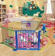 Baby Playpen 8 Panel Play Yard Indoor Outdoor Wooden Safety Frame Kid Play Fold